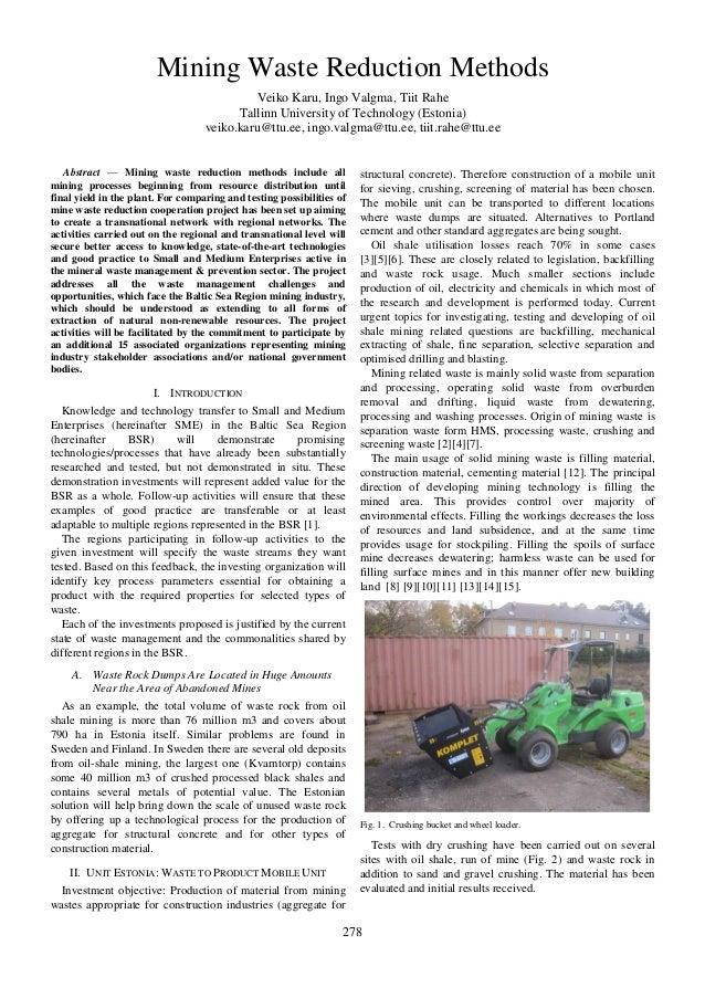 Mining Waste Reduction Methods Veiko Karu, Ingo Valgma, Tiit Rahe Tallinn University of Technology (Estonia) veiko.karu@tt...