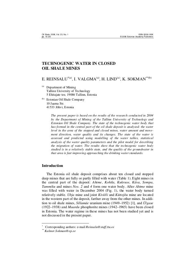 Oil Shale, 2006, Vol. 23, No. 1 pp. 15–28  ISSN 0208-189X © 2006 Estonian Academy Publishers  TECHNOGENIC WATER IN CLOSED ...
