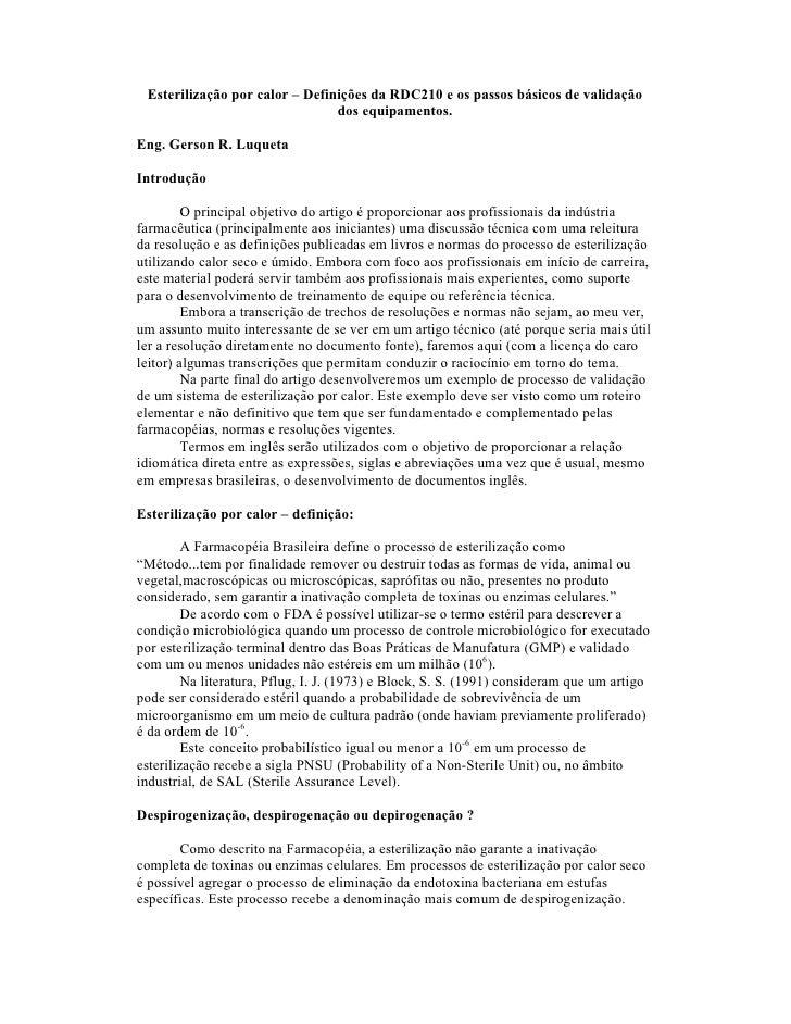 Esterilização por calor – Definições da RDC210 e os passos básicos de validação                                dos equipam...