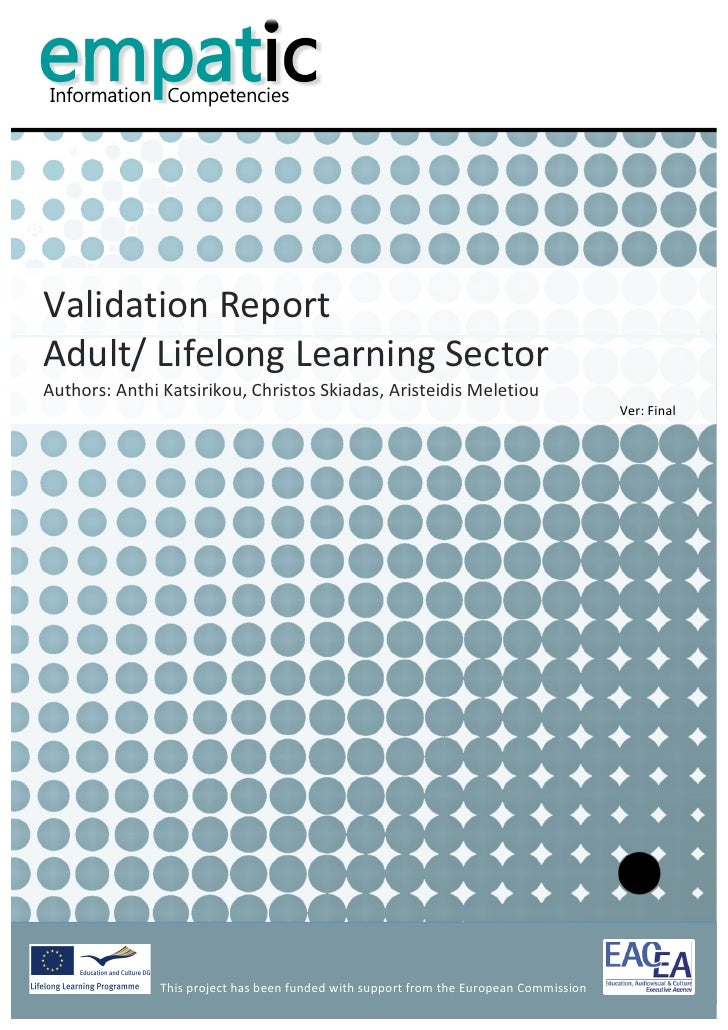 Validation Report - Adult Education and Lifelong Learning Sector