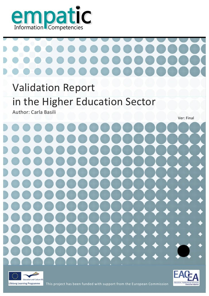 Validation Report - Higher Education Sector