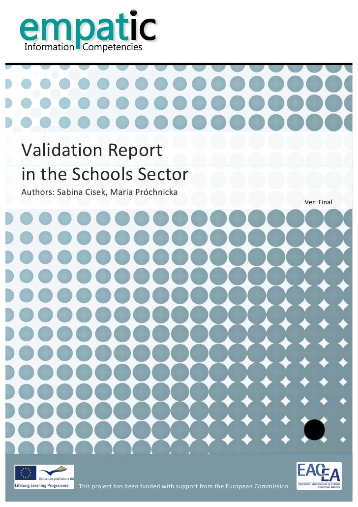Validation Report - Schools Sector
