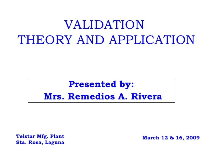 Validation   Theory And Application 3