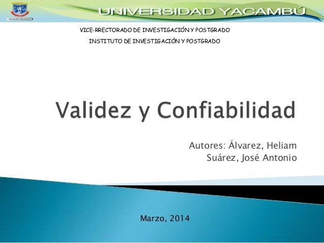 Autores: Álvarez, Heliam Suárez, José Antonio VICE-RRECTORADO DE INVESTIGACIÓN Y POSTGRADO INSTITUTO DE INVESTIGACIÓN Y PO...