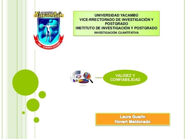 UNIVERSIDAD YACAMBÚ VICE-RRECTORADO DE INVESTIGACIÓN Y POSTGRADO INSTITUTO DE INVESTIGACIÓN Y POSTGRADO INVESTIGACIÓN CUAN...