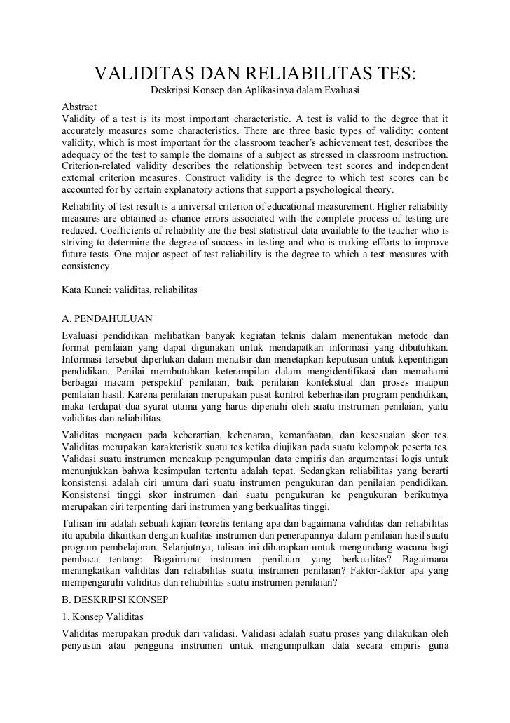 VALIDITAS DAN RELIABILITAS TES:                      Deskripsi Konsep dan Aplikasinya dalam EvaluasiAbstractValidity of a ...