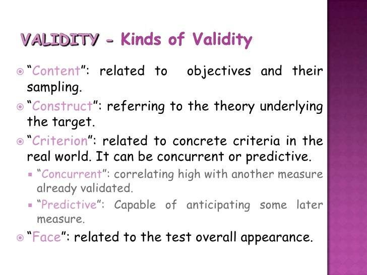 Definition of types of reliability and validity in a dissertation