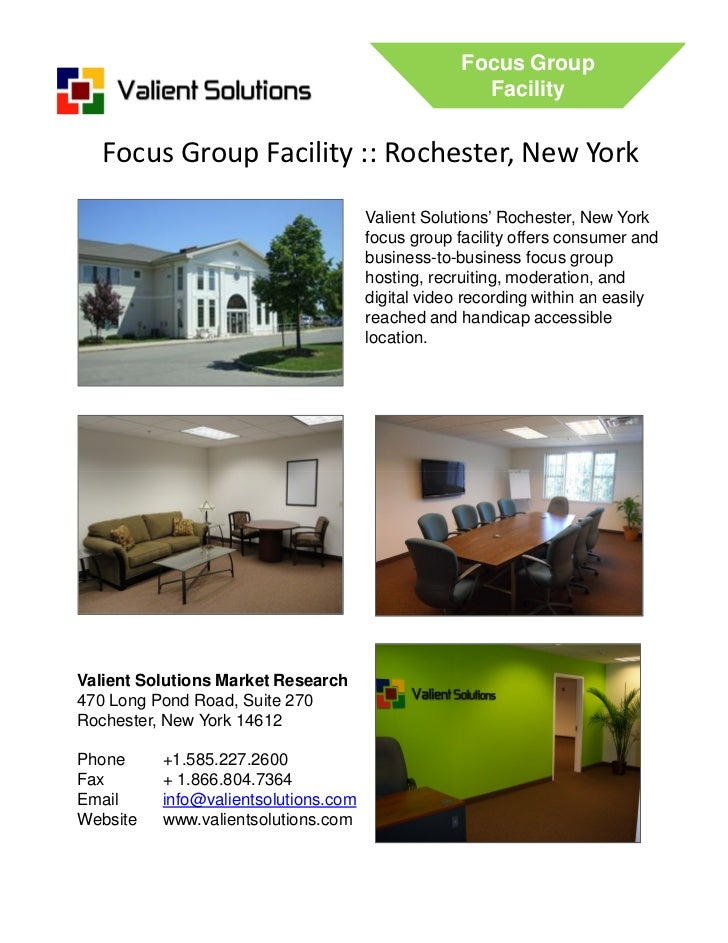Valient Solutions Rochester, New York Focus Group Facility Brochure