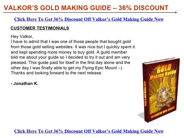 Valkor's Gold Making Guide Discount