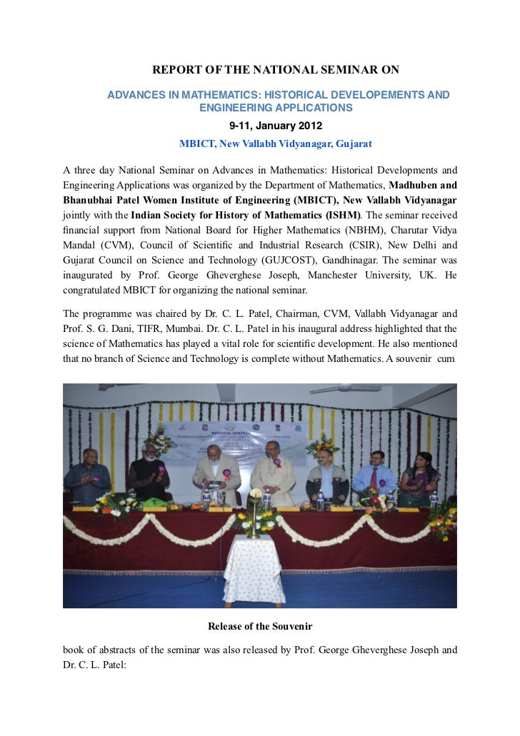 REPORT OF THE NATIONAL SEMINAR ON          ADVANCES IN MATHEMATICS: HISTORICAL DEVELOPEMENTS AND                        EN...