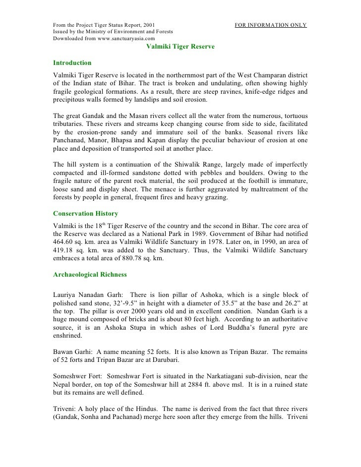 Valmiki Tiger Project report India