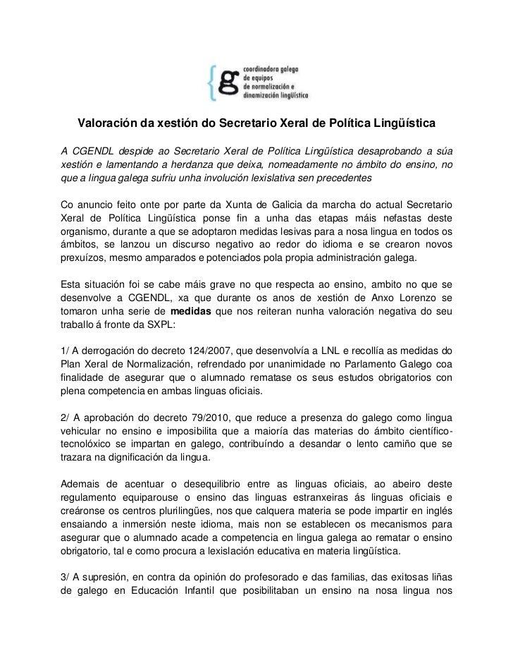 Valoración da xestión do Secretario Xeral de Política LingüísticaA CGENDL despide ao Secretario Xeral de Política Lingüíst...