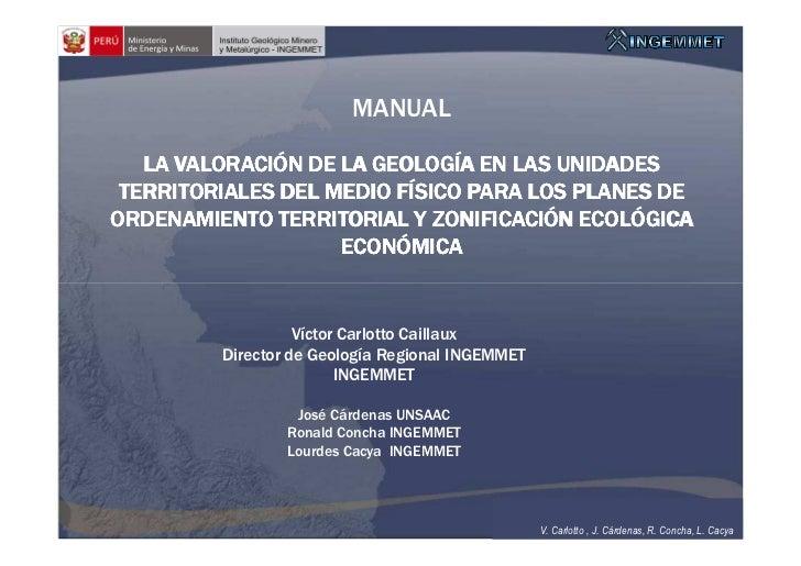 Valoración de la geología en las unidades territoriales del medio físico para los planes de ordenamiento territorial