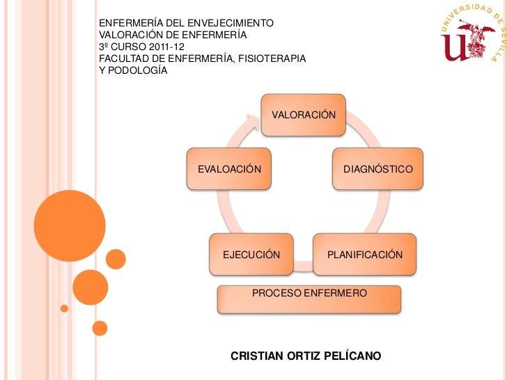 ENFERMERÍA DEL ENVEJECIMIENTOVALORACIÓN DE ENFERMERÍA3º CURSO 2011-12FACULTAD DE ENFERMERÍA, FISIOTERAPIAY PODOLOGÍA      ...