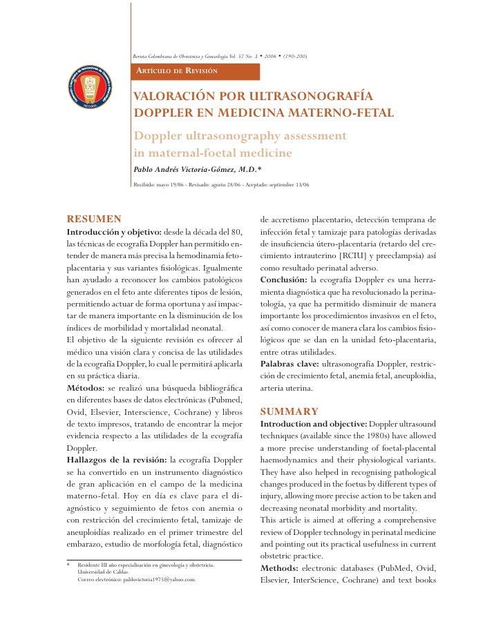 Revista Colombiana de Obstetricia y Ginecología Vol. 57 No. 3 • 2006 • (190-200)                                 Revisión ...
