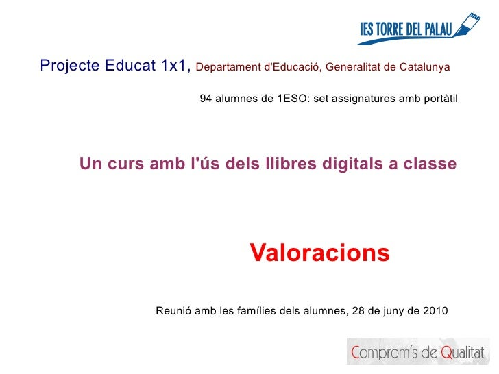 Llibres digitals: valoració del primer curs a les classes de l'institut Torre del Palau de Terrassa
