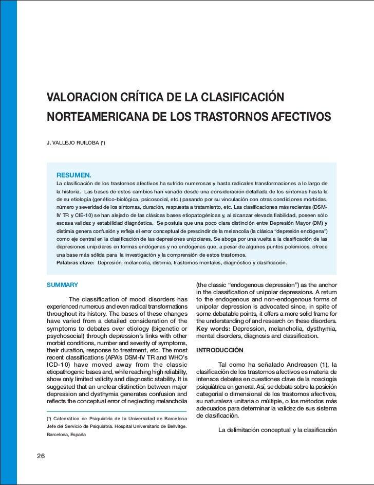VALORACION CRÍTICA DE LA CLASIFICACIÓN     NORTEAMERICANA DE LOS TRASTORNOS AFECTIVOS     J. VALLEJO RUILOBA (*)         R...