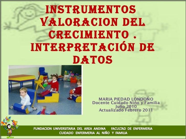 Instrumentos  VALORACION DEL CRECIMIENTO . Interpretación de datos MARIA PIEDAD LONDOÑO Docente Cuidado Niño y Familia Jul...