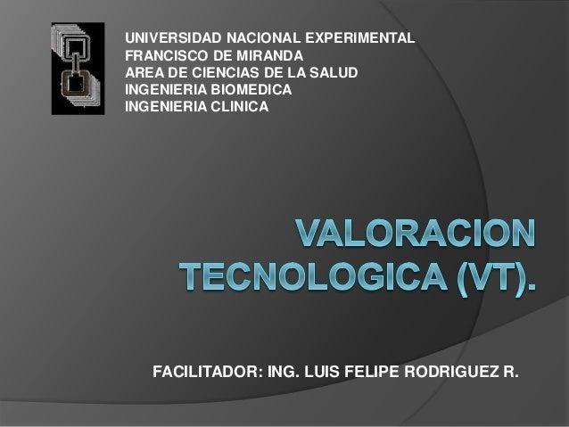 FACILITADOR: ING. LUIS FELIPE RODRIGUEZ R. UNIVERSIDAD NACIONAL EXPERIMENTAL FRANCISCO DE MIRANDA AREA DE CIENCIAS DE LA S...