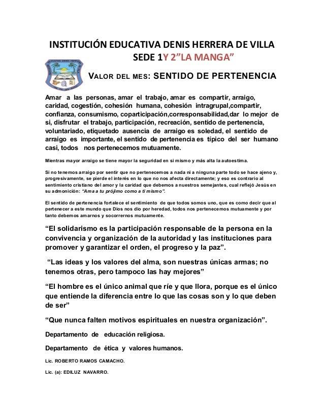 """INSTITUCIÓN EDUCATIVA DENIS HERRERA DE VILLA                 SEDE 1Y 2""""LA MANGA""""                  VALOR DEL MES: SENTIDO D..."""