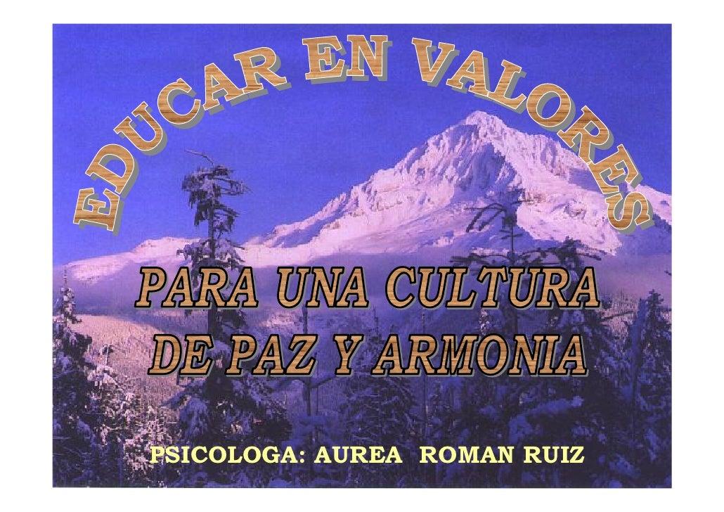 PSICOLOGA: AUREA ROMAN RUIZ