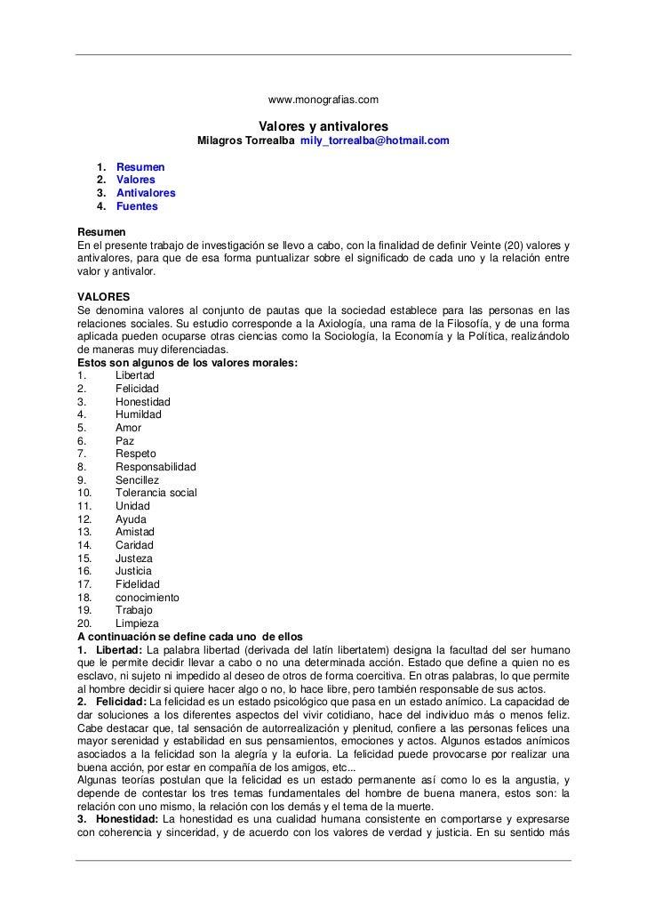 www.monografias.com                                        Valores y antivalores                          Milagros Torreal...