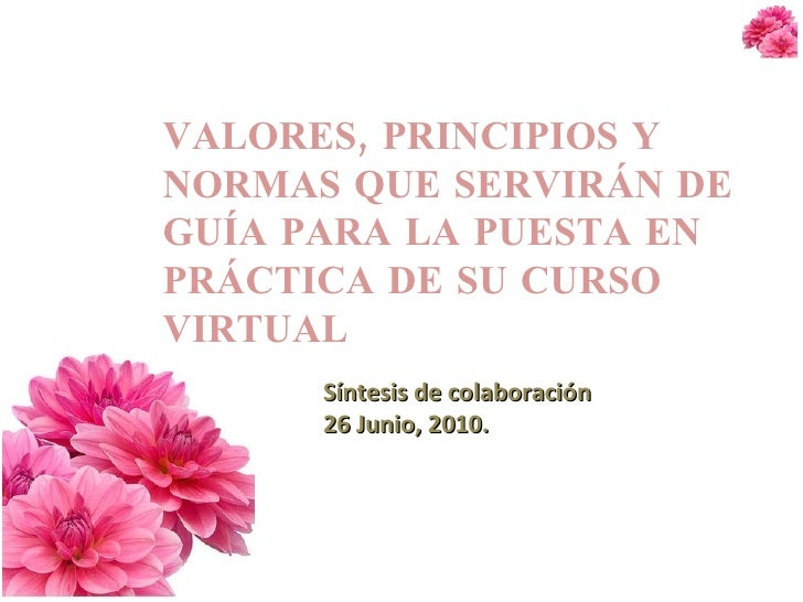 VALORES, PRINCIPIOS Y NORMAS QUE SERVIRÁN DE GUÍA PARA LA PUESTA EN PRÁCTICA DE SU CURSO VIRTUAL Síntesis de colaboración ...
