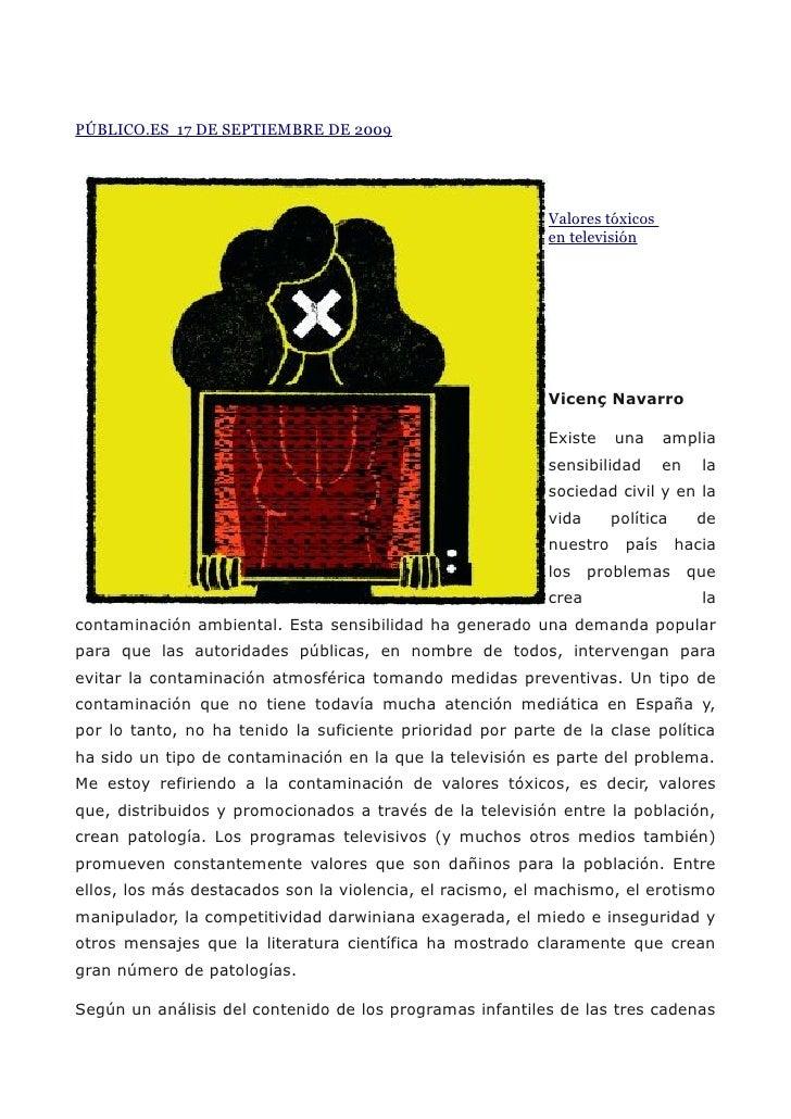PÚBLICO.ES 17 DE SEPTIEMBRE DE 2009                                                                Valores tóxicos        ...