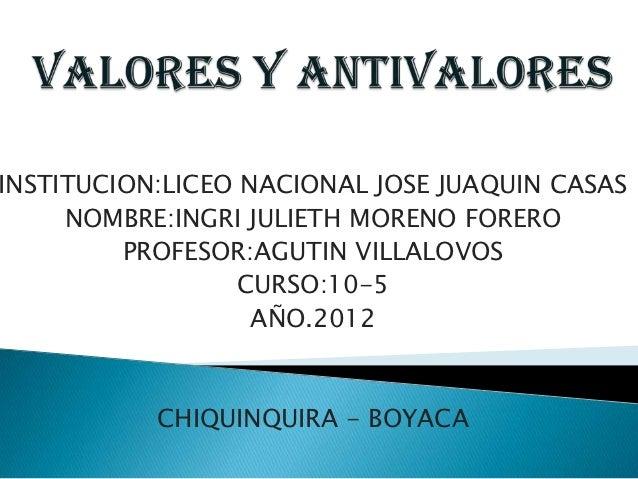 INSTITUCION:LICEO NACIONAL JOSE JUAQUIN CASAS     NOMBRE:INGRI JULIETH MORENO FORERO         PROFESOR:AGUTIN VILLALOVOS   ...