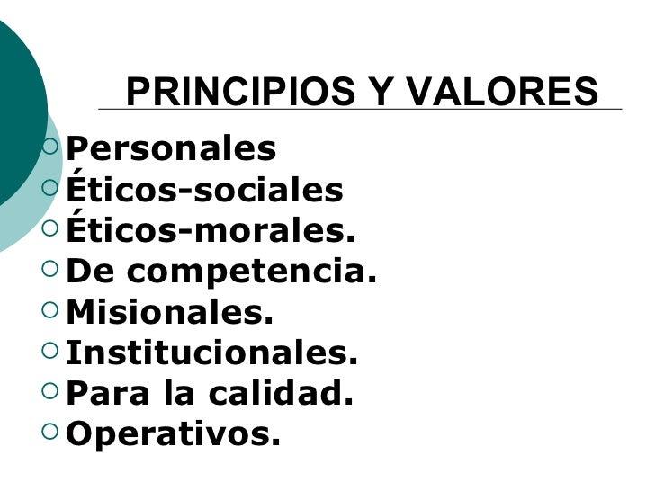 PRINCIPIOS Y VALORES <ul><li>P ersonales </li></ul><ul><li>Éticos-sociales </li></ul><ul><li>Éticos-morales. </li></ul><ul...