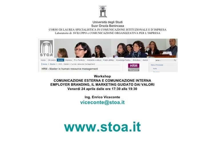 Università degli Studi                          Suor Orsola Benincasa CORSO DI LAUREA SPECIALISTICA IN COMUNICAZIONE ISTIT...