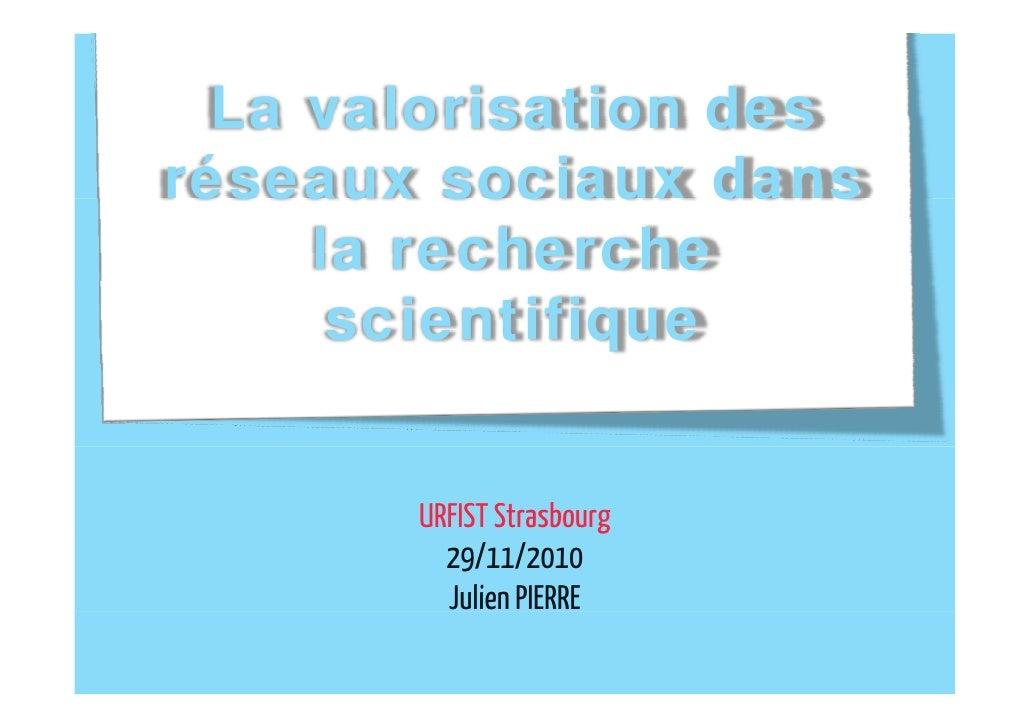 La valorisation des reseaux sociaux dans la recherche scientifique