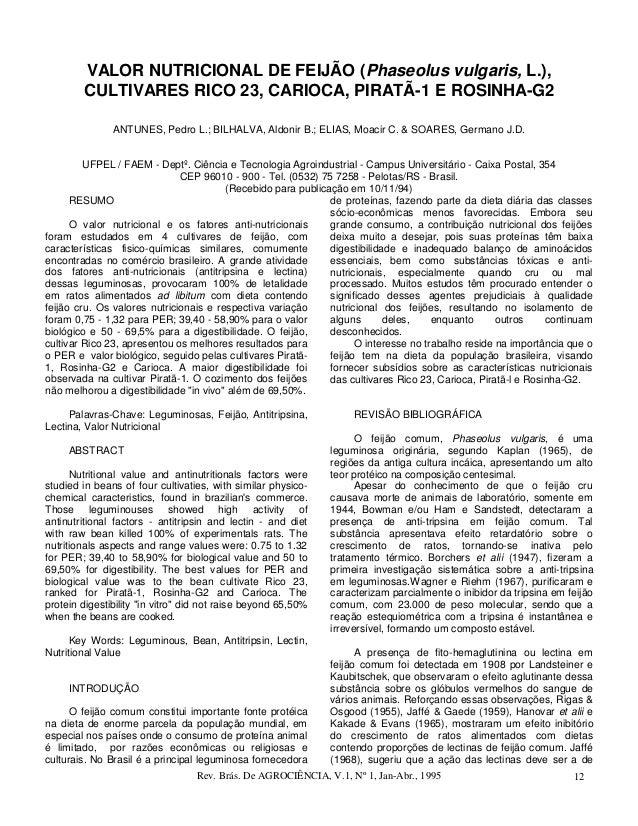 VALOR NUTRICIONAL DE FEIJÃO (Phaseolus vulgaris, L.),        CULTIVARES RICO 23, CARIOCA, PIRATÃ-1 E ROSINHA-G2           ...