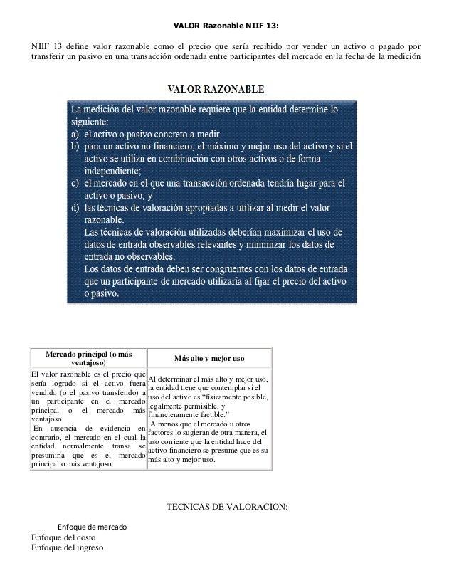 VALOR Razonable NIIF 13:NIIF 13 define valor razonable como el precio que sería recibido por vender un activo o pagado por...