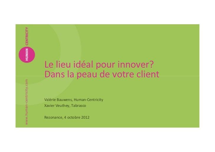 Le lieu idéal pour innover?Dans la peau de votre clientValérie Bauwens, Human-CentricityXavier Veuthey, TabrascoRezonance,...