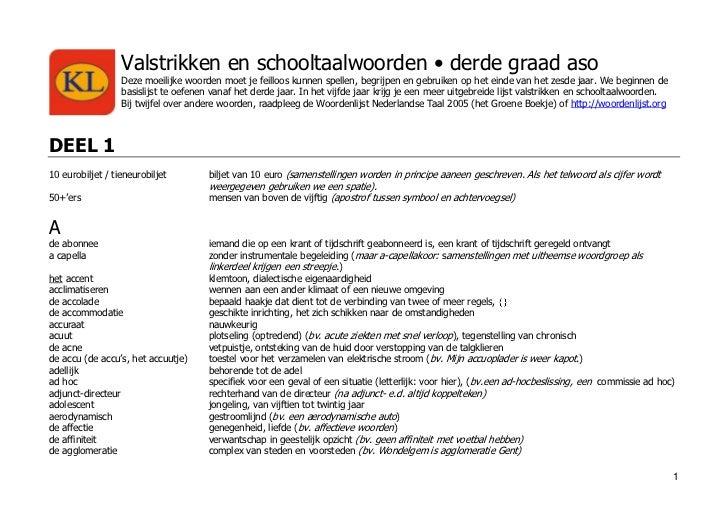 lijst schooltaalwoorden 3e graad