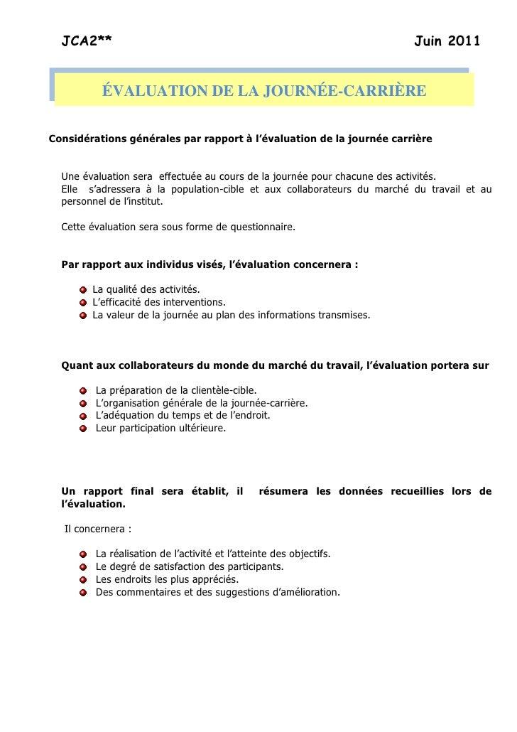 JCA2**                                                                 Juin 2011           ÉVALUATION DE LA JOURNÉE-CARRIÈ...
