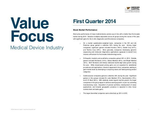 Value Focus © 2014 Mercer Capital // www.mercercapital.com 1 Medical Device Industry First Quarter 2014 Stock Market Perfo...