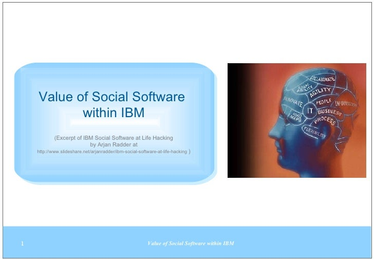 Value of Social Software  within IBM (Excerpt of IBM Social Software at Life Hacking by  Arjan Radder at http://www.slides...
