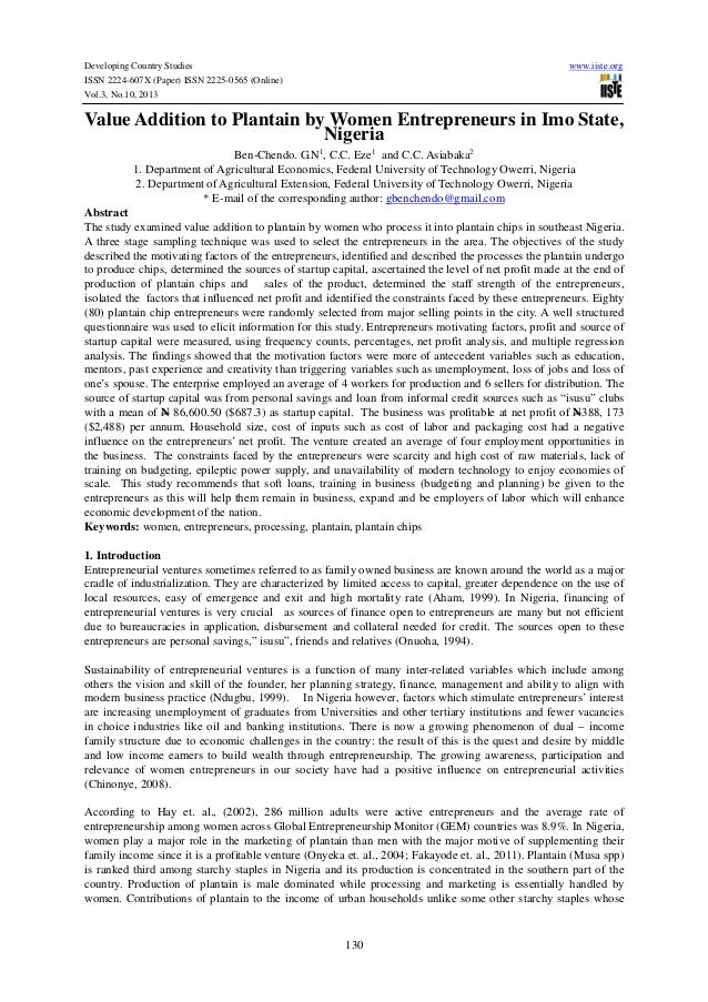 Developing Country Studies ISSN 2224-607X (Paper) ISSN 2225-0565 (Online) Vol.3, No.10, 2013  www.iiste.org  Value Additio...