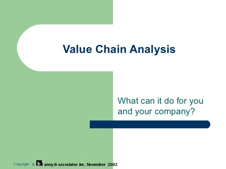 Value Chain Analysis What can it do for you and your company? Copyright    l aney & associates  Inc.  November  2002
