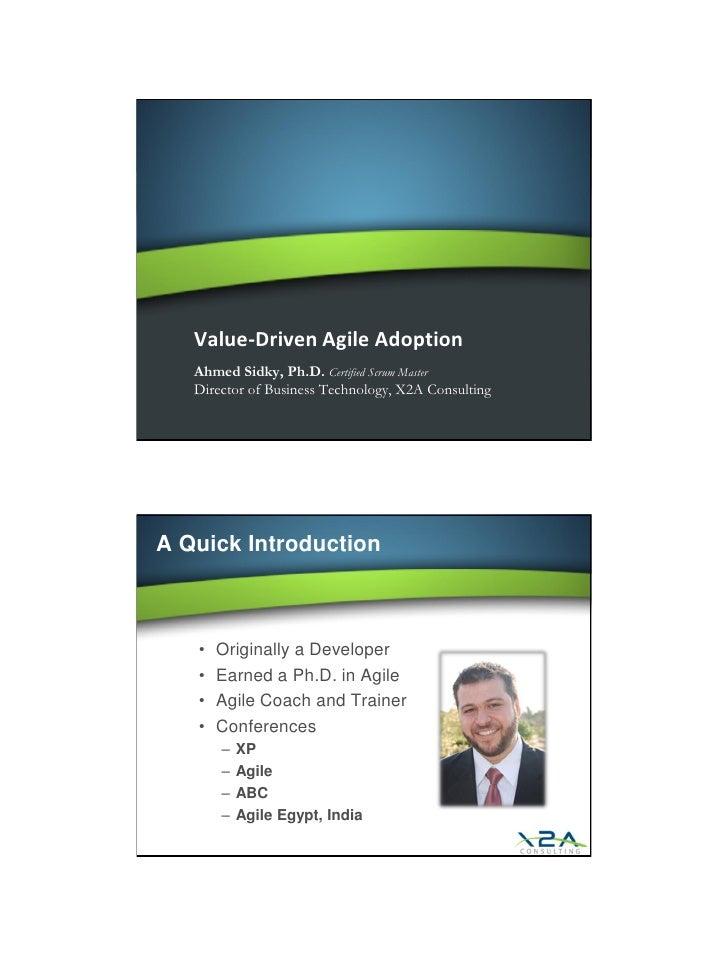 Value Driven Agile Adoption