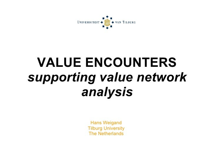 VALUE ENCOUNTERS supporting value network analysis Hans Weigand Tilburg University The Netherlands