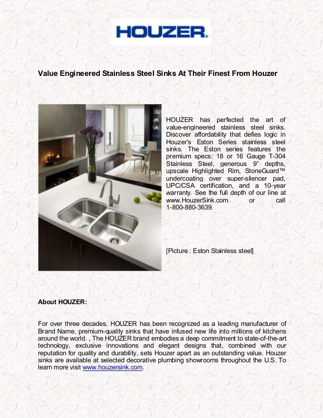 Value Engineered Stainless Steel Sinks At Their Finest