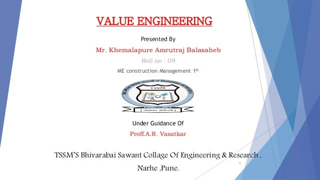 Value engineering seminar presentation for Value engineered