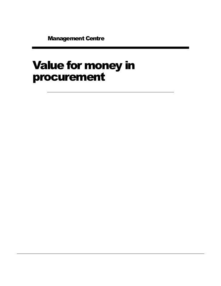 Management CentreValue for money inprocurement