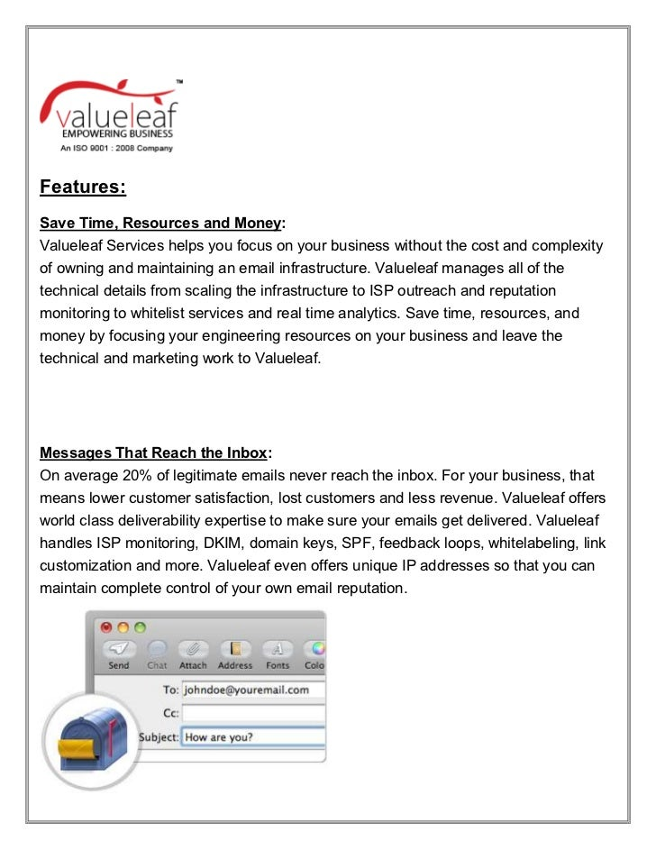 Features:Save Time, Resources and Money:Valueleaf Services helps you focus on your business without the cost and complexit...