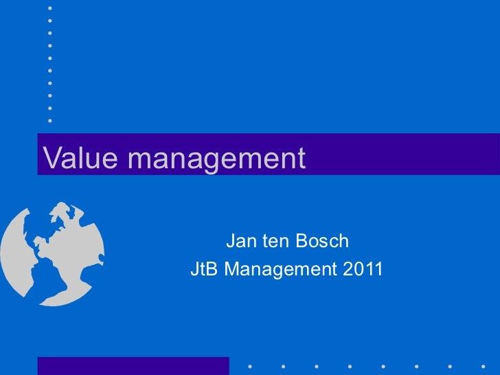 Value Management by Jan ten Bosch