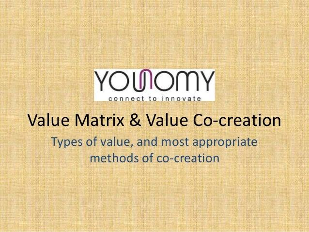 Value Matrix and Value Co-creation