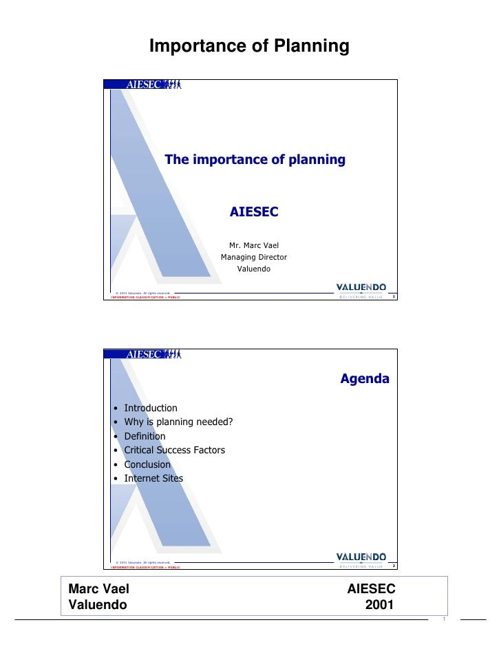 Valuendo Aiesec Importance Of Planning (2001) Handout